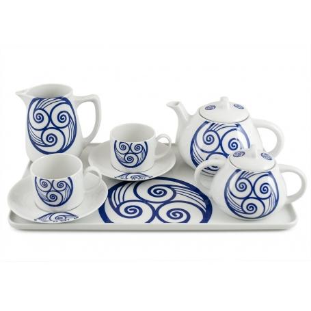 Six-piece tea set inc Beta Tray. Pombal design, Lua collection.