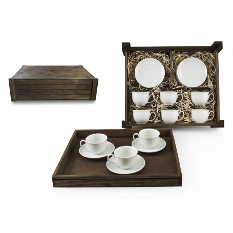 Six-Piece Tea set in wooden box. Moments desing, White collection