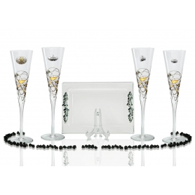 Milano Black and Gold champagne flutes and Rialto tray for wedding or anniversary gift