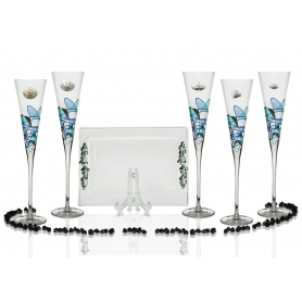 Copas champán Milano Galería con bandeja Rialto para boda o aniversario