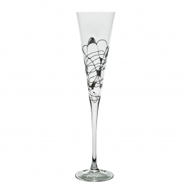 Black and Silver Milano champagne flute 180
