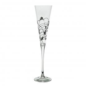 Copa de champán Milano negro/plata 180