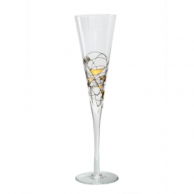 Black and Gold Milano champagne flute 180