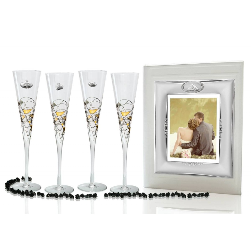 Milano Black And Gold Champagne Flutes And Photo Album For Wedding