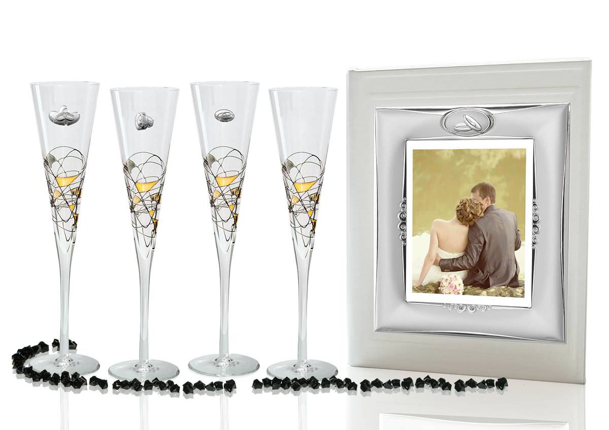Milano Black and Gold champagne flutes and photo album for wedding or anniversary gift