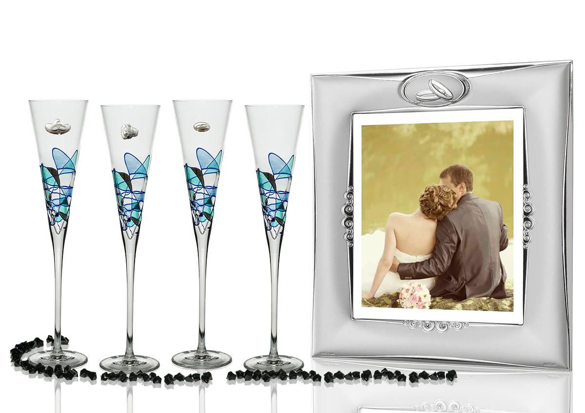 Copas Champán Milano Galería con Portafoto para boda o aniversario