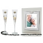 Milano Black and Gold champagne flutes and photo framefor wedding or anniversary gift