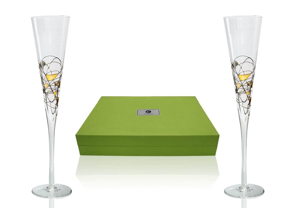 Copas Champán Milano en Negro y Oro con bandeja Patisserie para boda o aniversario