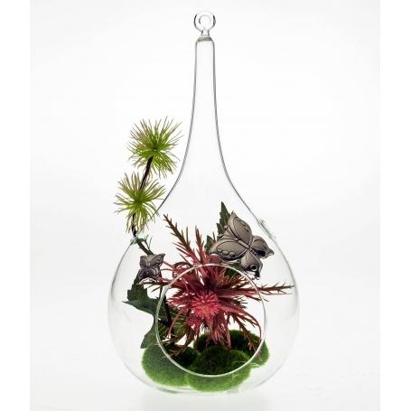 Florero en forma de lámpara cristal soplado