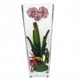 Florero Rosa rectangular papavero cristal soplado