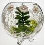 Florero Blanco esfera alga papavero cristal soplado