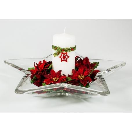 Centro estrella Navidad Rojo gota de Plata 244