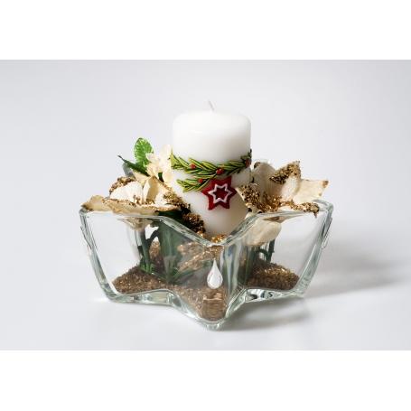 Centro estrella bowl Navidad Oro gota de plata 532