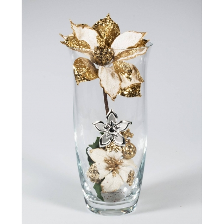Florero Navidad Oro Flor Plata 505