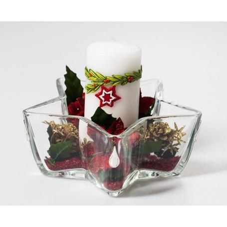 Centro estrella bowl Navidad Rojo gota de plata 532
