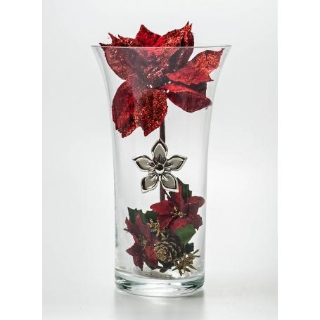 Florero Navidad Rojo Flor Plata 507
