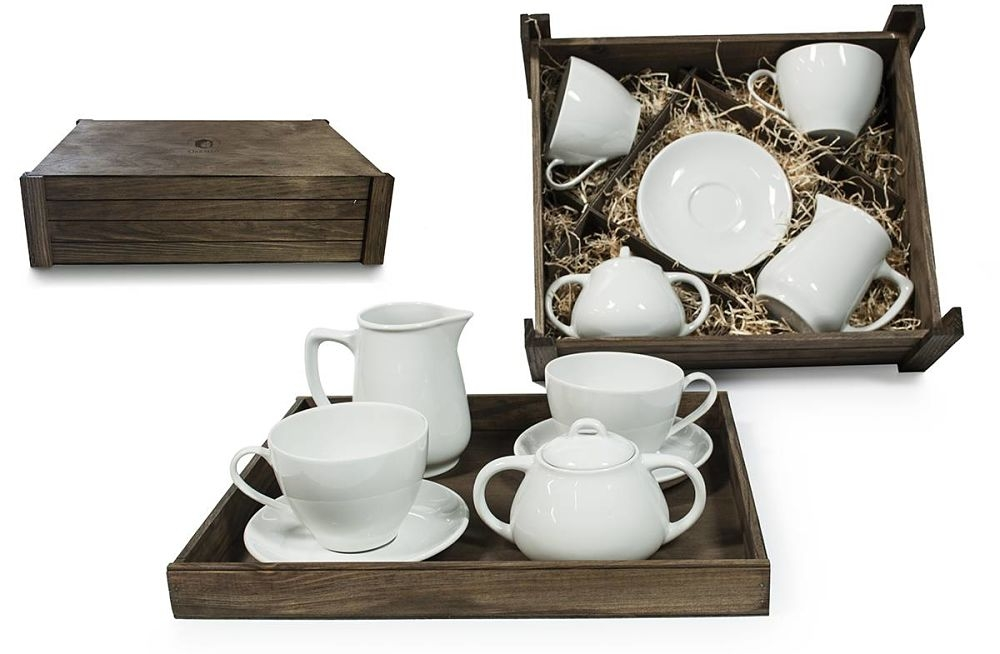 Four-Piece Tea set in wooden box. Volare desing, White collection