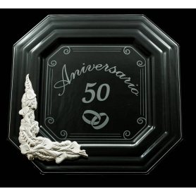 Bandeja Cristal rectangular especial aniversarios plata Canova Cala