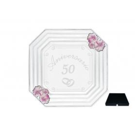 Bandeja Cristal rectangular especial 50 aniversarios plata Canova Papavero