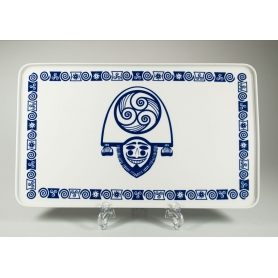 Bandeja Porcelana rectangular modelo Celta Cigarron 41 cm largo