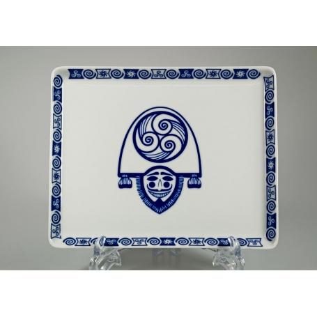 Bandeja Porcelana rectangular modelo Celta Cigarron Macau 23 cm largo