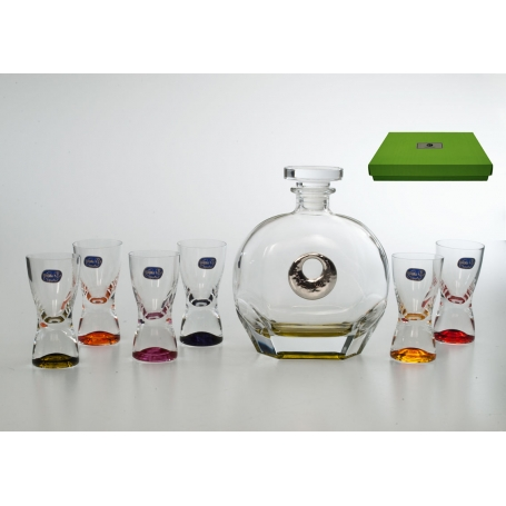 Coloured liquor set. Rossini bottle and six shot glasses