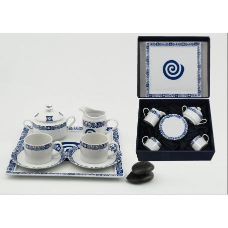 Four-piece Pombal tea set and Marcador tray. Celta collection