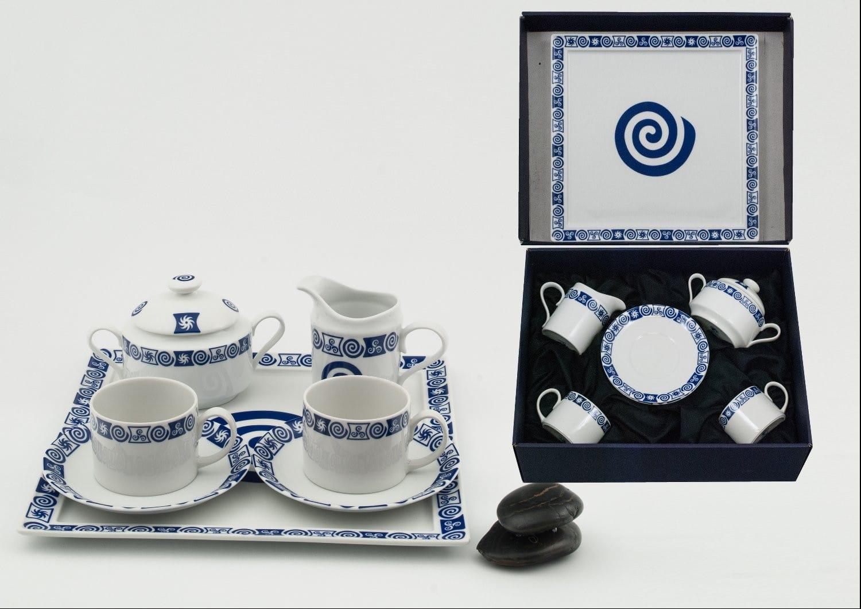 Juego de té Pombal 2 tazas, azucarero, lechera y bandeja