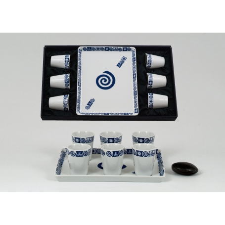 Six-Mus shot glasses and Macau tray set. Celta collection.