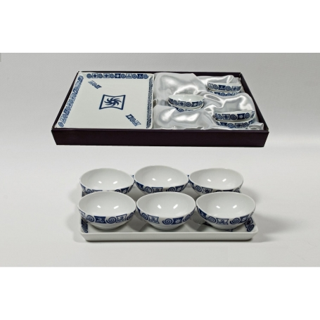 Six-bowl and tray set for appetizers. Celta collection