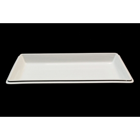 Large, white oven dish.