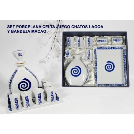 Eitght-piece liquor set. Lagoa bottle, shots and Macau tray. Celta collection.