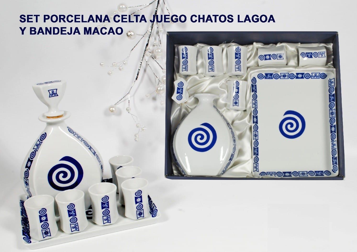 Set de chatos Lagoa, botella y bandeja Macao col. Celta
