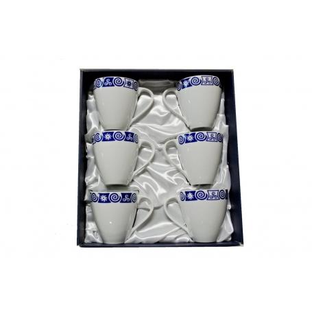 Six-mug porcelain set. Volare design, Celta collection.