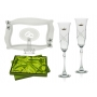 Fuchsia champagne flutes and Patisserie tray wedding  or anniversary gift
