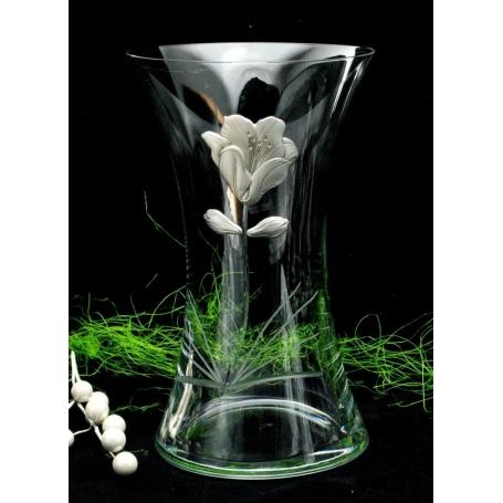 Bohemian glass vase 82570 (poppy decoration)