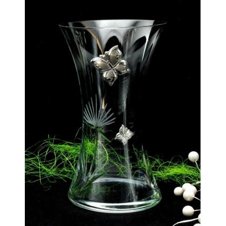 Bohemian glass vase 82570 (Butterfly decoration)