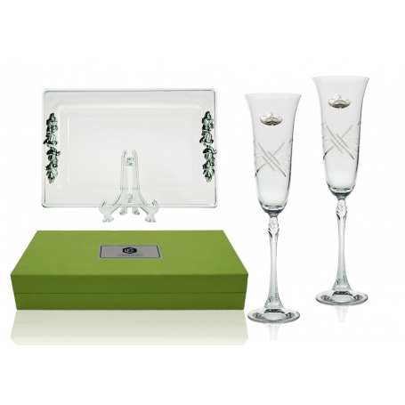 Fuchsia champagne flutes and Rialto tray. Wedding gift set.
