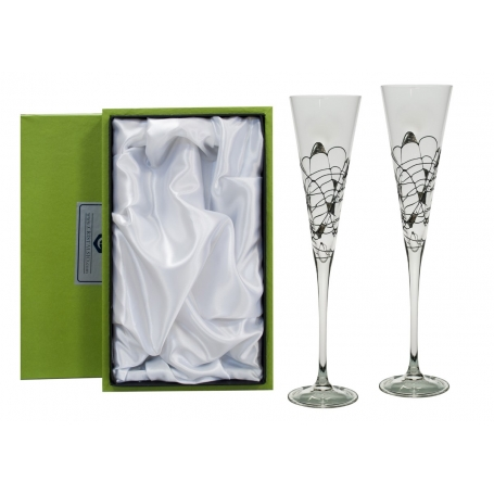 Gold and black Milano champagne flutes for wedding or anniversary gift