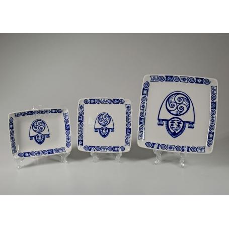 Plato Porcelana rectangular Celta Cigarron 13x13 cm