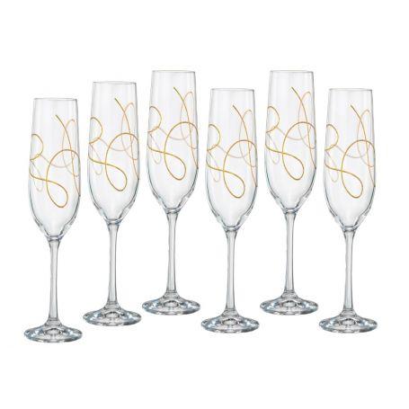 Lote 6 Copas Champán para brindis en cristal de bohemia String Oro