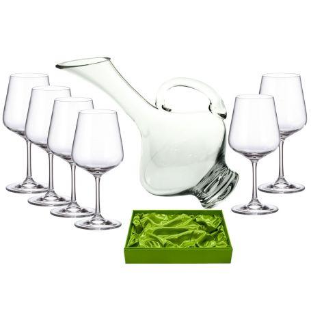 Juego de vino Ultima Strix 450 ml, 6 copas con decantadora 2610 lisa set