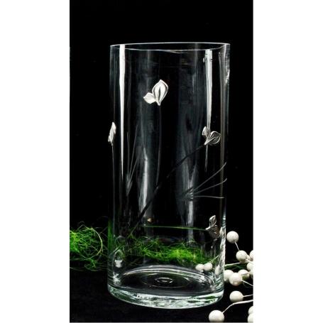 Bohemian glass cylindrical vase (petals decoration)