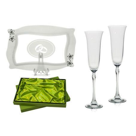 Copas Champán Fuchsia con bandeja Patisserie para boda o aniversario