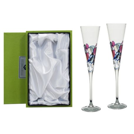 Red Milano champagne flutes for wedding or anniversary gift