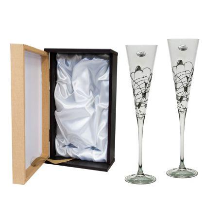 Copas Champán Milano negro y plata para boda o aniversario
