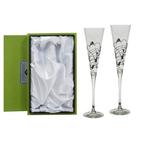 Milano Black/Silver champagne flutes for wedding or anniversary gift