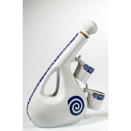 Juego de chupitos y botella en porcelana modelo Viana