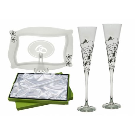 Milano Black and Silver champagne flutes and Patisserie tray for wedding or anniversary gift