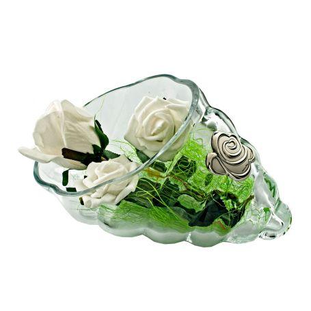 Florero o centro de cristal forma de caracola Plata Rosa